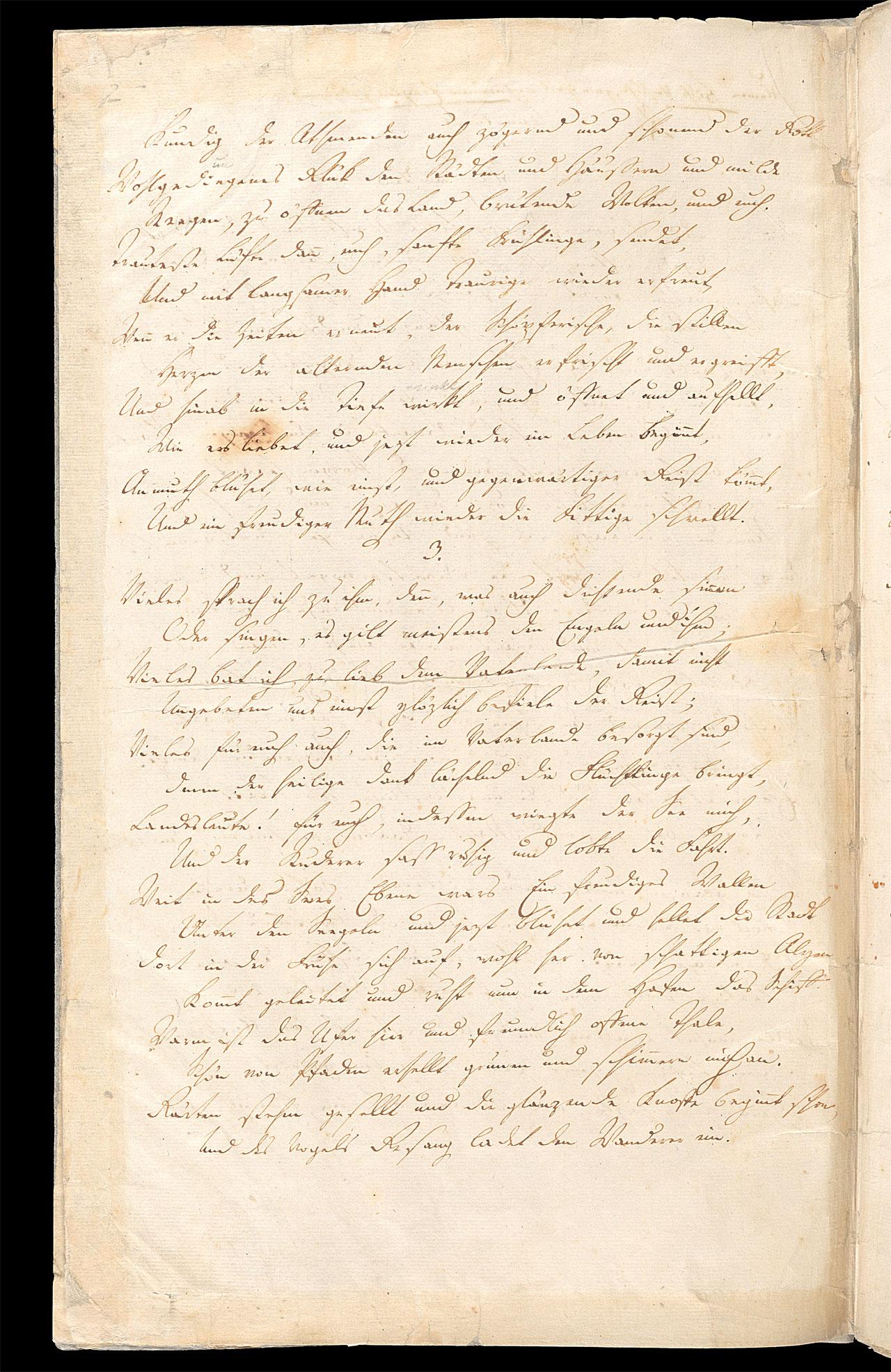 Friedrich Hölderlin, Homburger Folioheft, Seite 2, Heimkunft, Handschrift