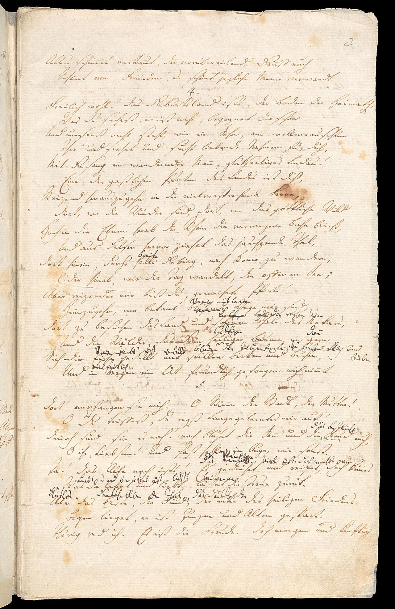 Friedrich Hölderlin, Homburger Folioheft, Seite 3, Heimkunft, Handschrift