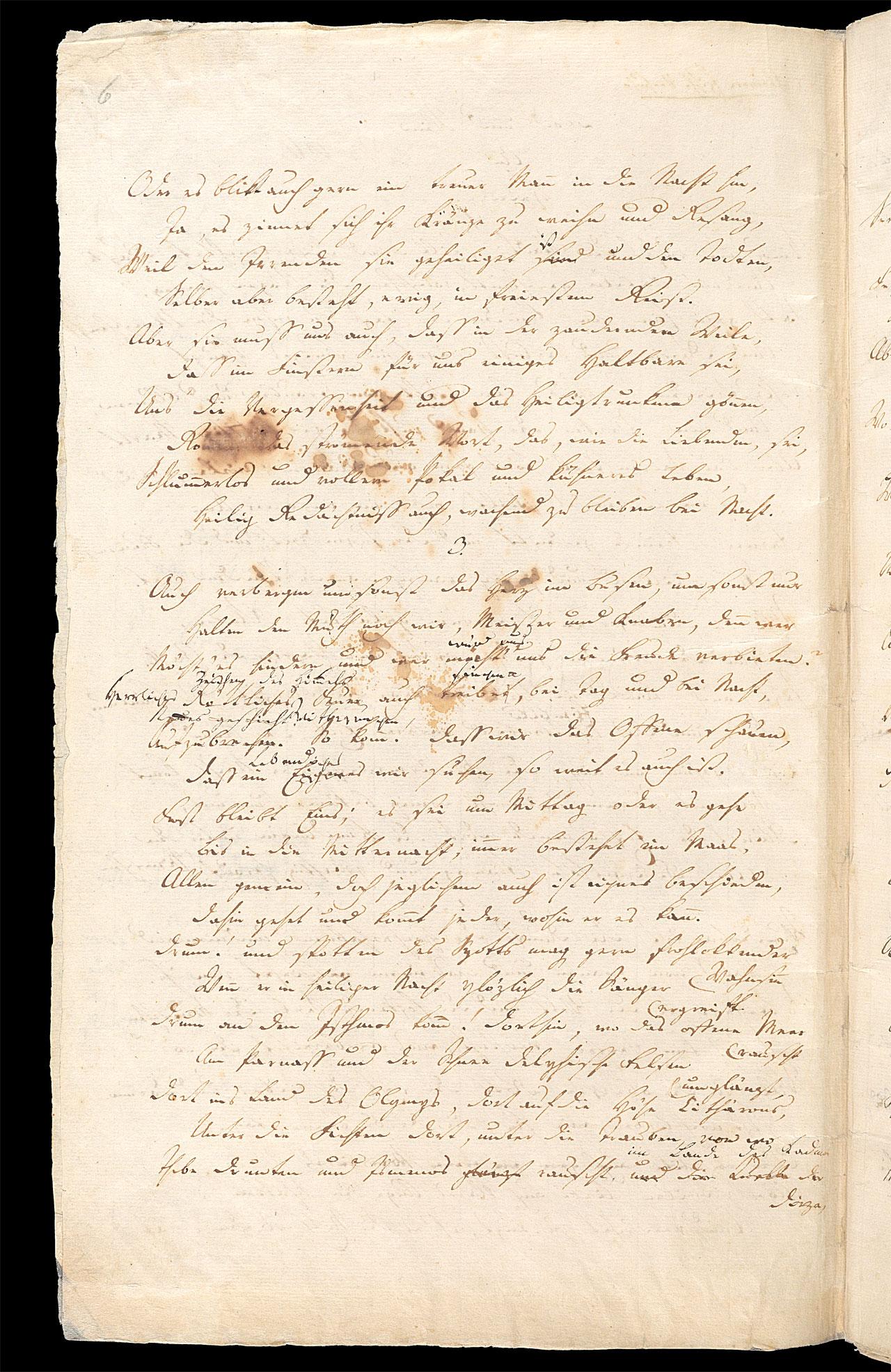 Friedrich Hölderlin, Homburger Folioheft, Seite 6, Brod und Wein, Handschrift