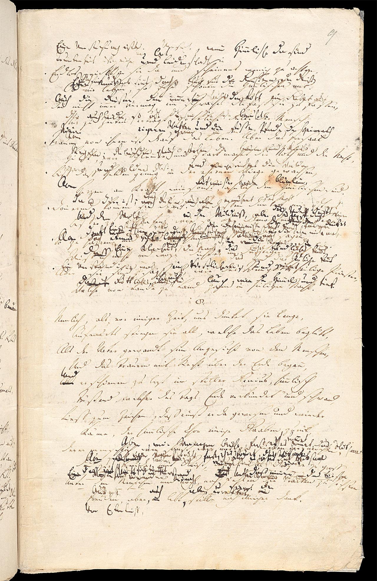 Friedrich Hölderlin, Homburger Folioheft, Seite 9, Brod und Wein, Handschrift