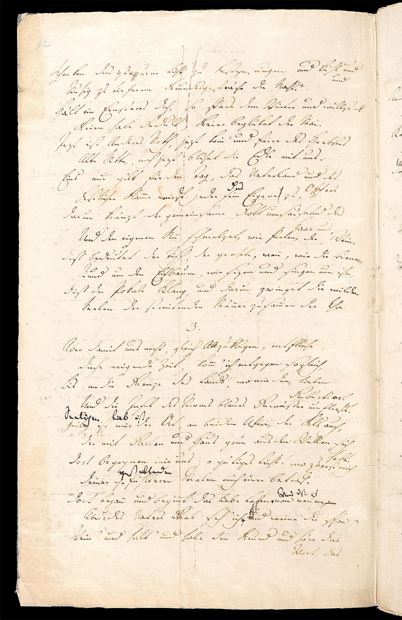 Friedrich Hölderlin, Homburger Folioheft, Seite 12, Stutgard, Handschrift