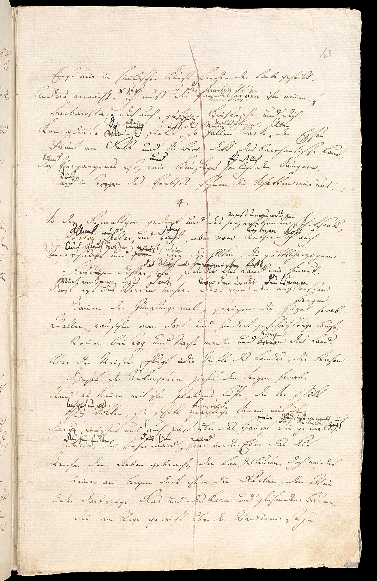 Friedrich Hölderlin, Homburger Folioheft, Seite 13, Stutgard, Handschrift