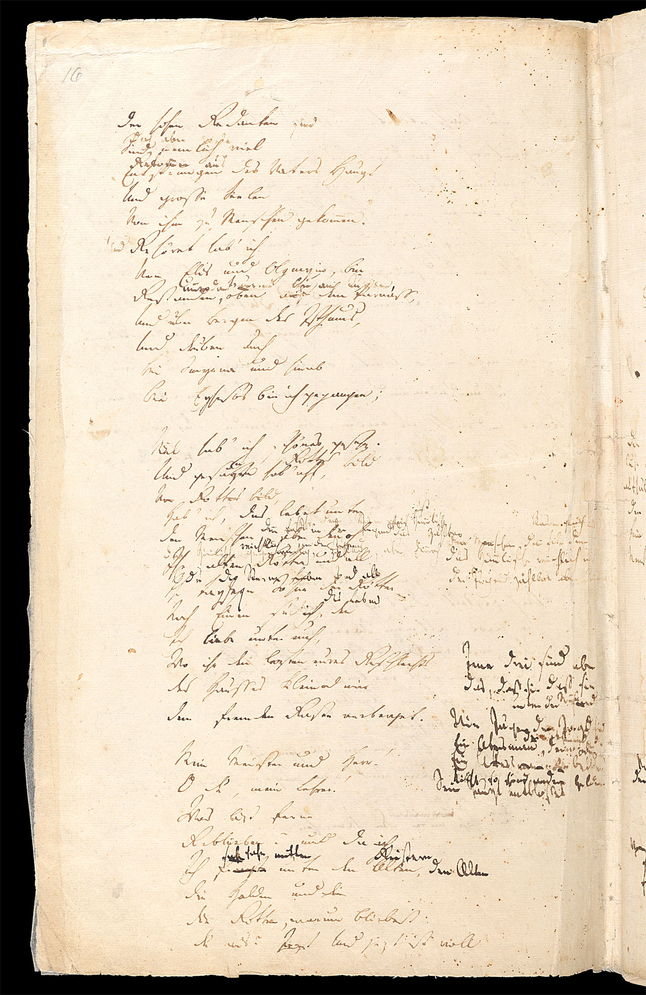 Friedrich Hölderlin, Homburger Folioheft, Seite 16, Der Einzige, Handschrift