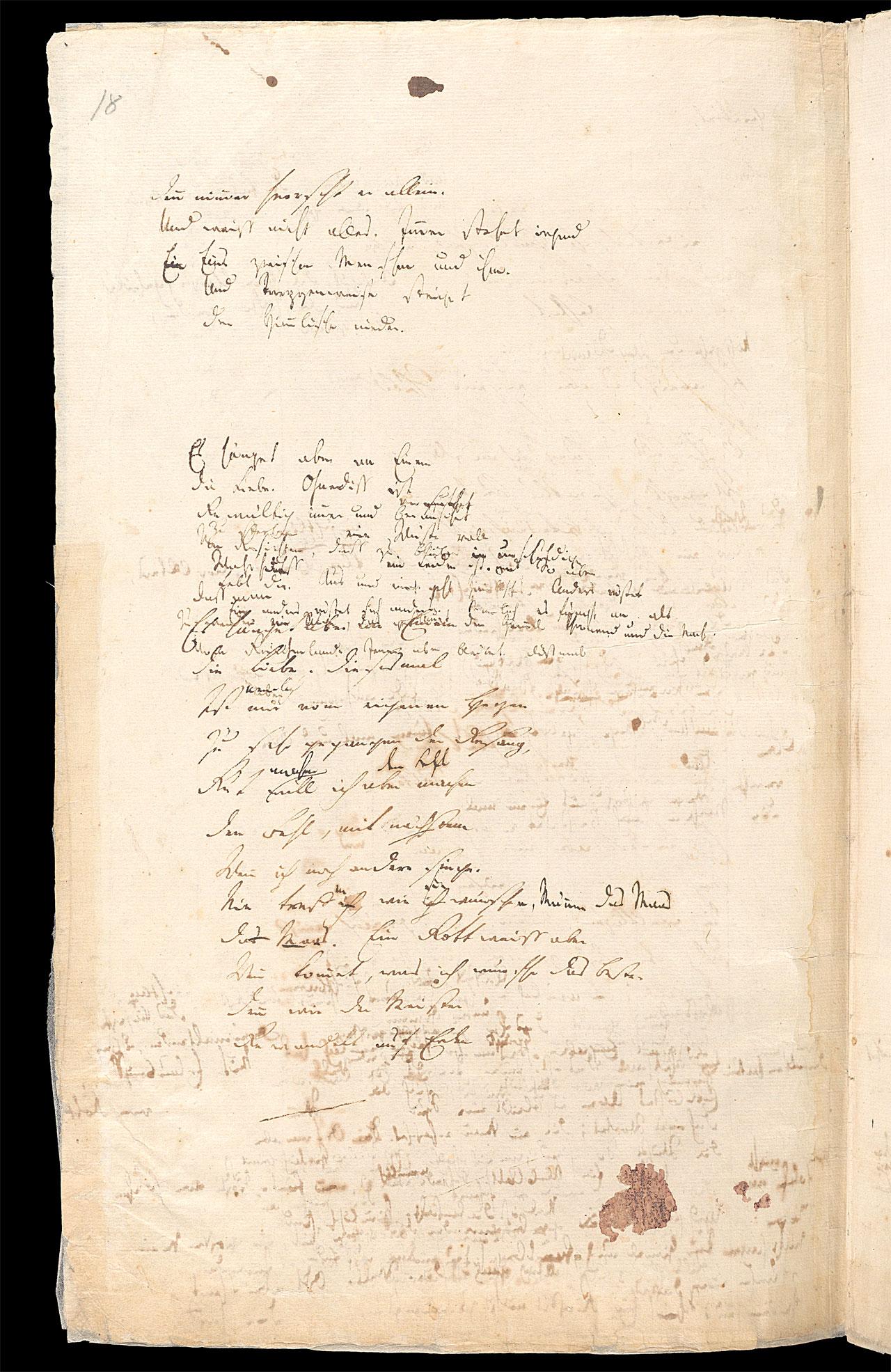 Friedrich Hölderlin, Homburger Folioheft, Seite 18, Der Einzige, Handschrift