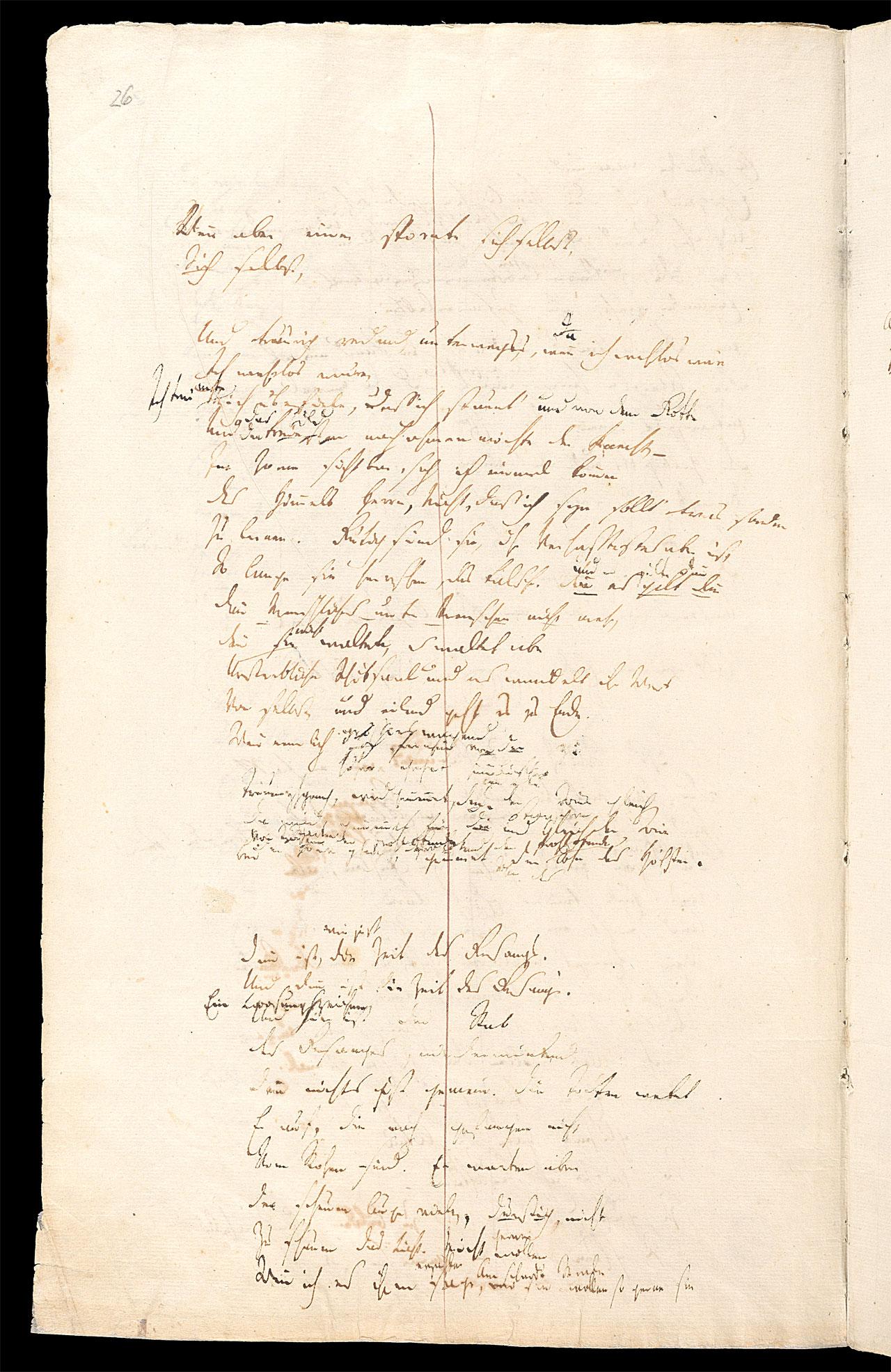 Friedrich Hölderlin, Homburger Folioheft, Seite 26, Patmos, Handschrift