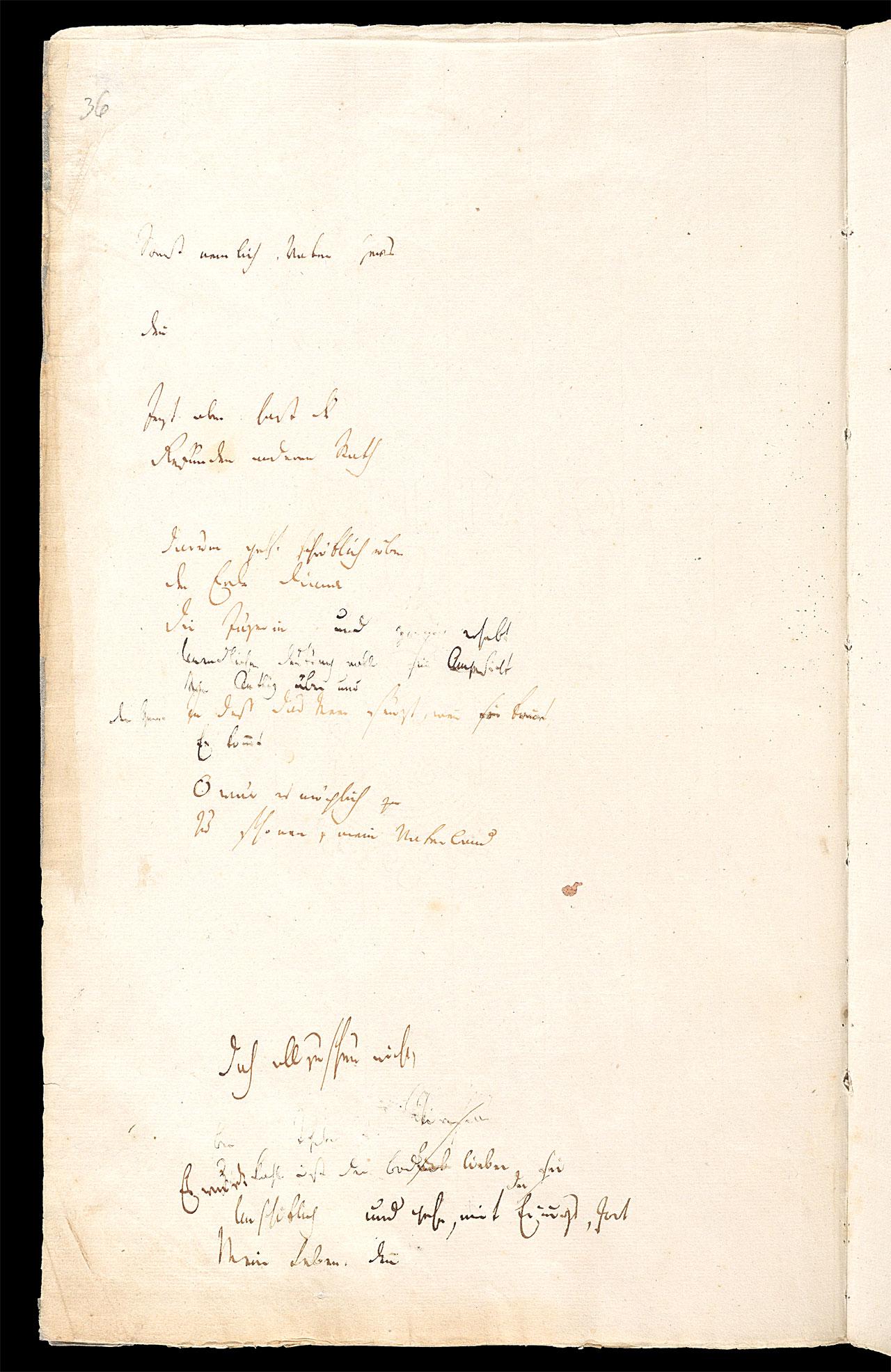 Friedrich Hölderlin, Homburger Folioheft, Seite 36, Sonst nemlich, Vater Zevs…, Handschrift