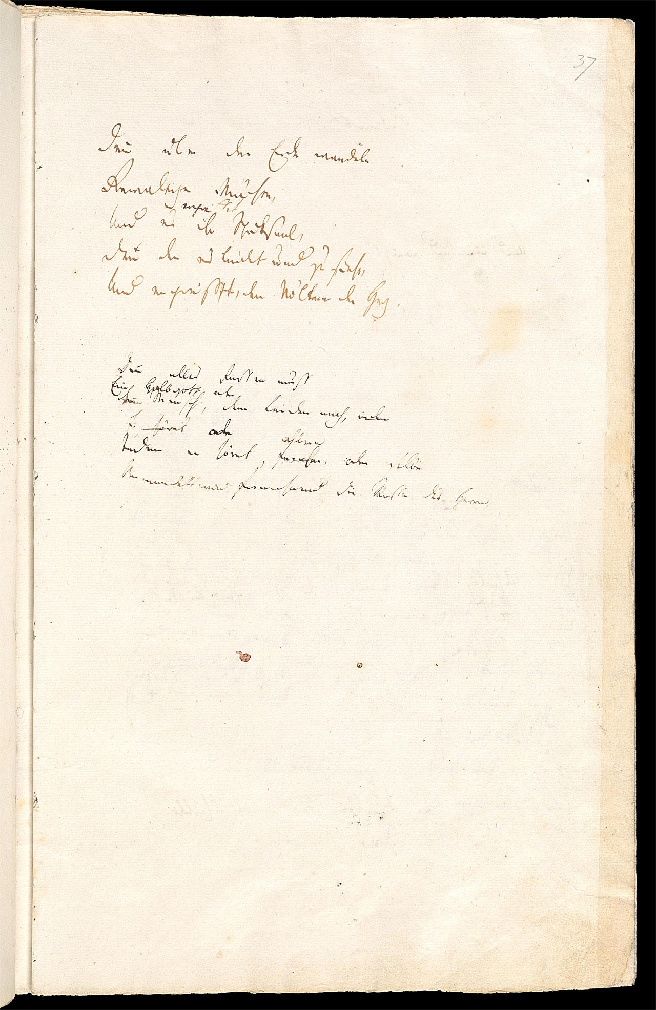 Friedrich Hölderlin, Homburger Folioheft, Seite 36, Denn über der Erde wandeln…, Handschrift