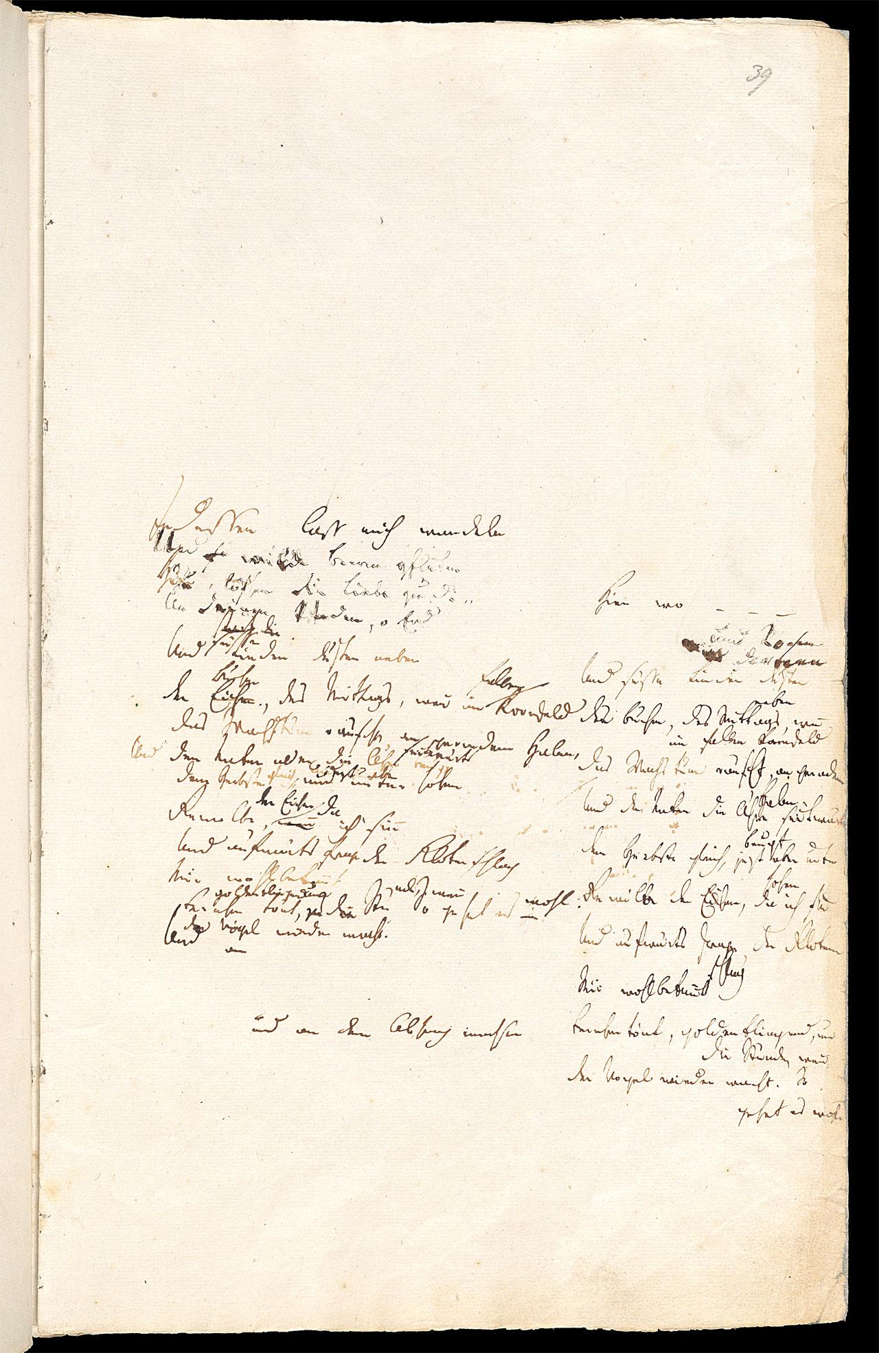 Friedrich Hölderlin, Homburger Folioheft, Seite 39, Indessen laß mich wandeln…, Handschrift