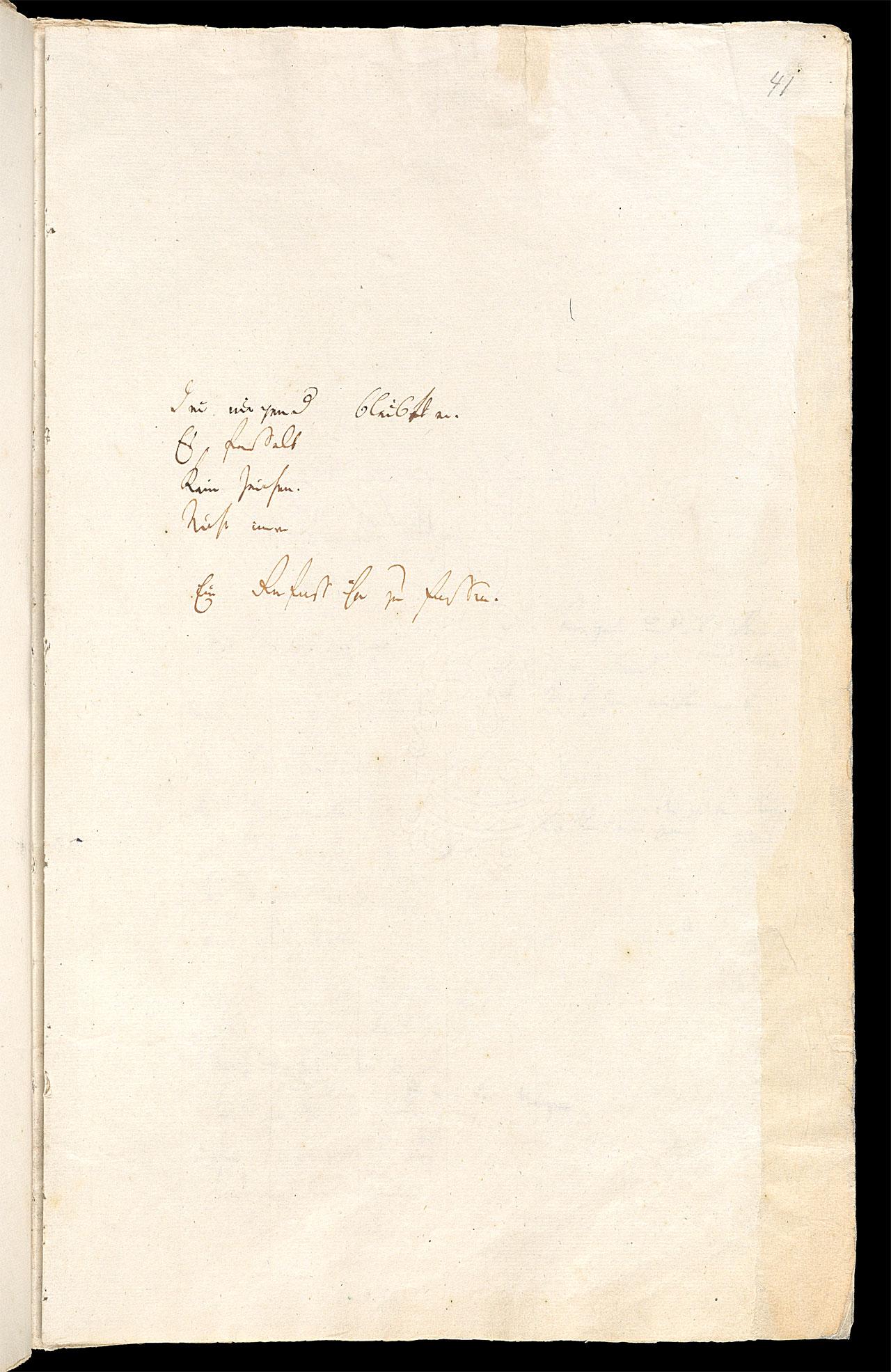 Friedrich Hölderlin, Homburger Folioheft, Seite 41, Denn nirgend bleibt er…, Handschrift