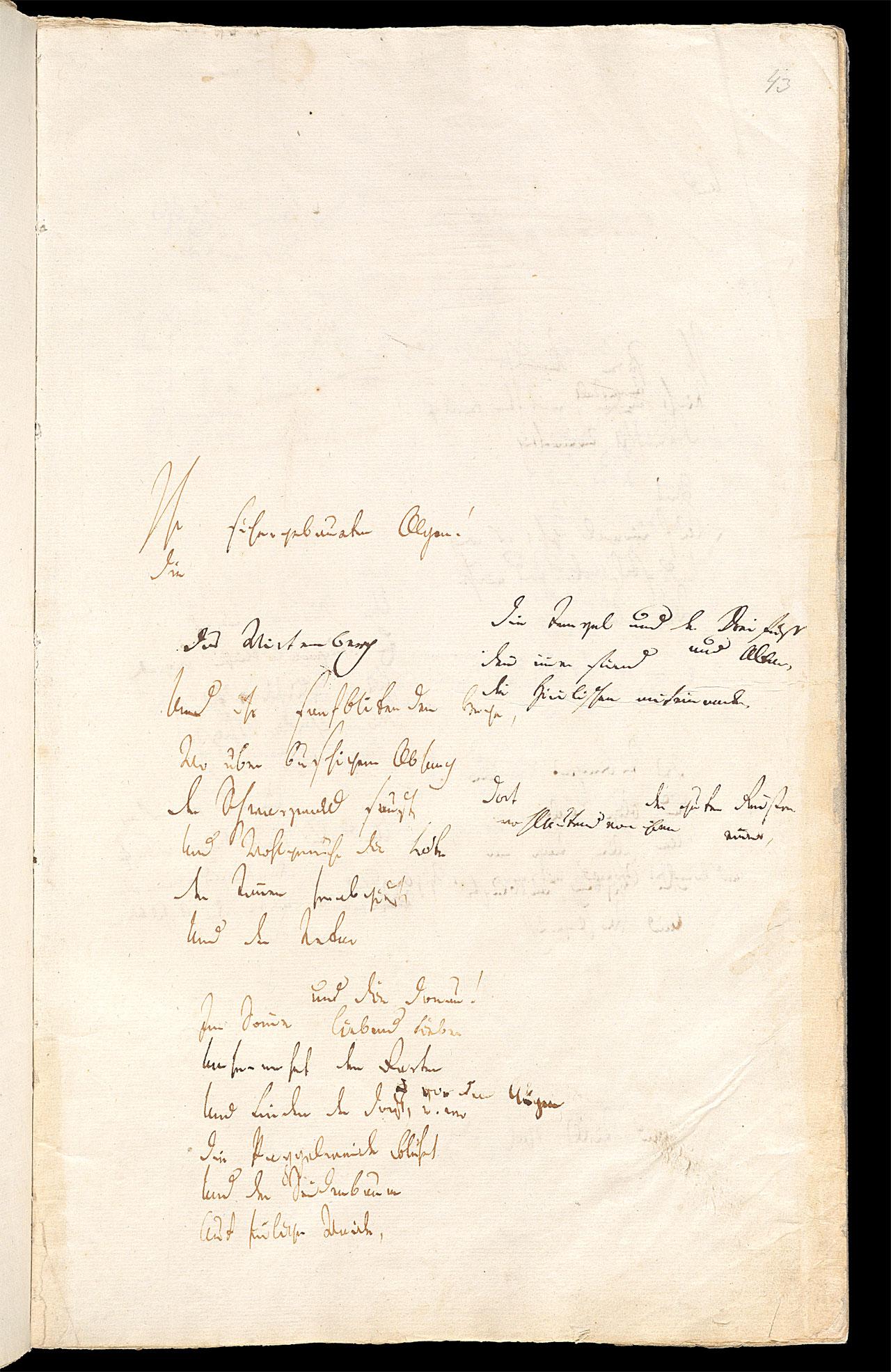 Friedrich Hölderlin, Homburger Folioheft, Seite 43, Ihr sichergebaueten Alpen…, Handschrift