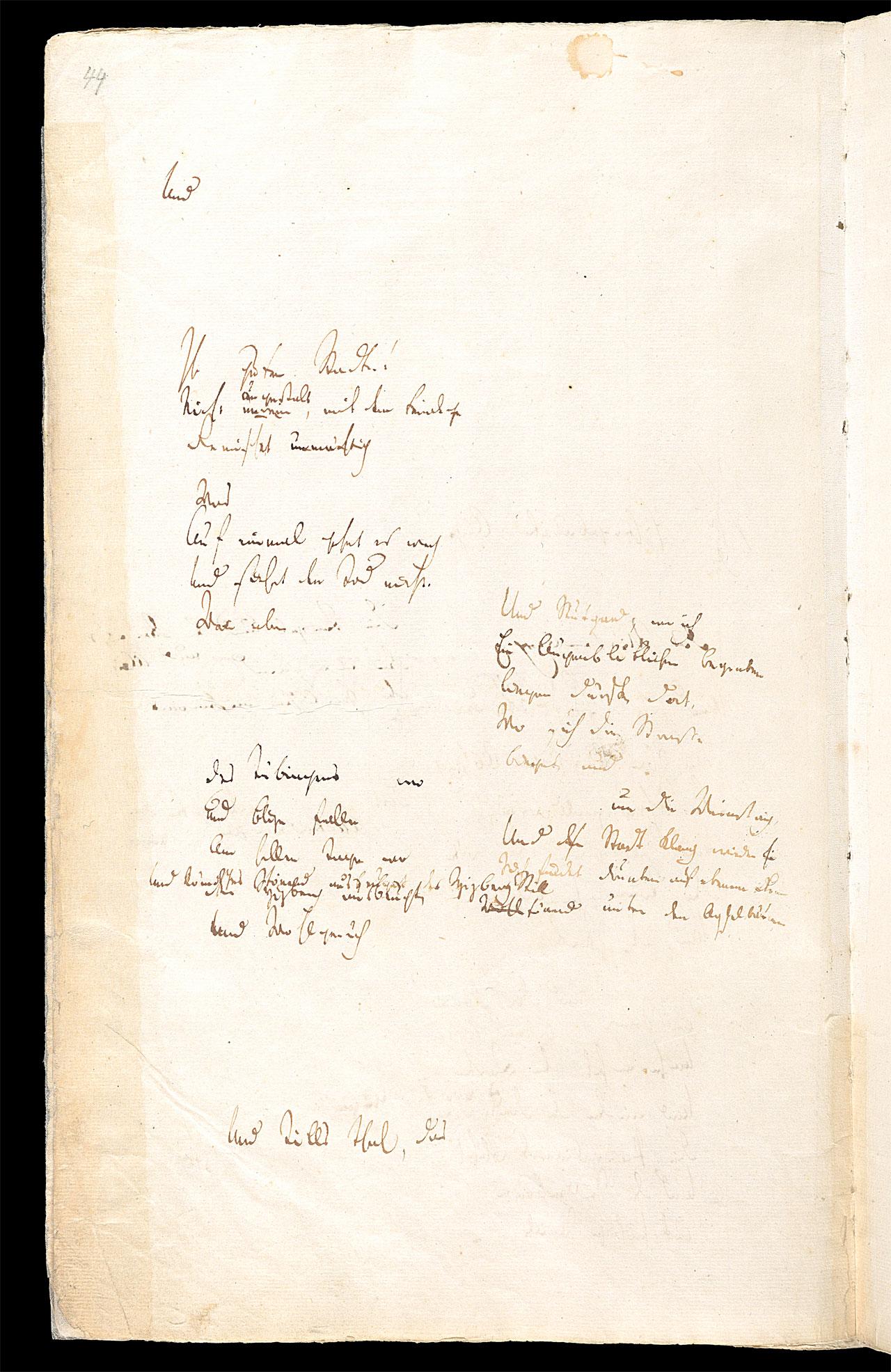 Friedrich Hölderlin, Homburger Folioheft, Seite 44, Ihr guten Städte…, Handschrift