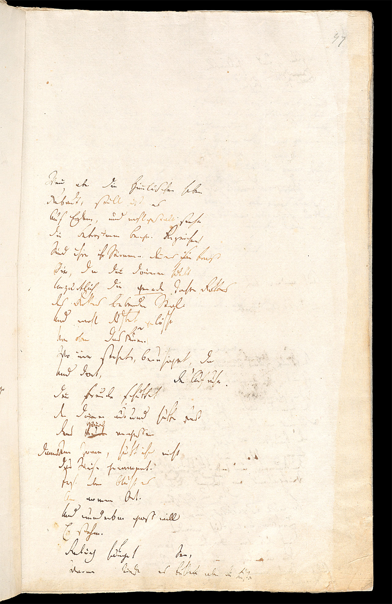 Friedrich Hölderlin, Homburger Folioheft, Seite 47, Wenn aber die Himmlischen…, Handschrift