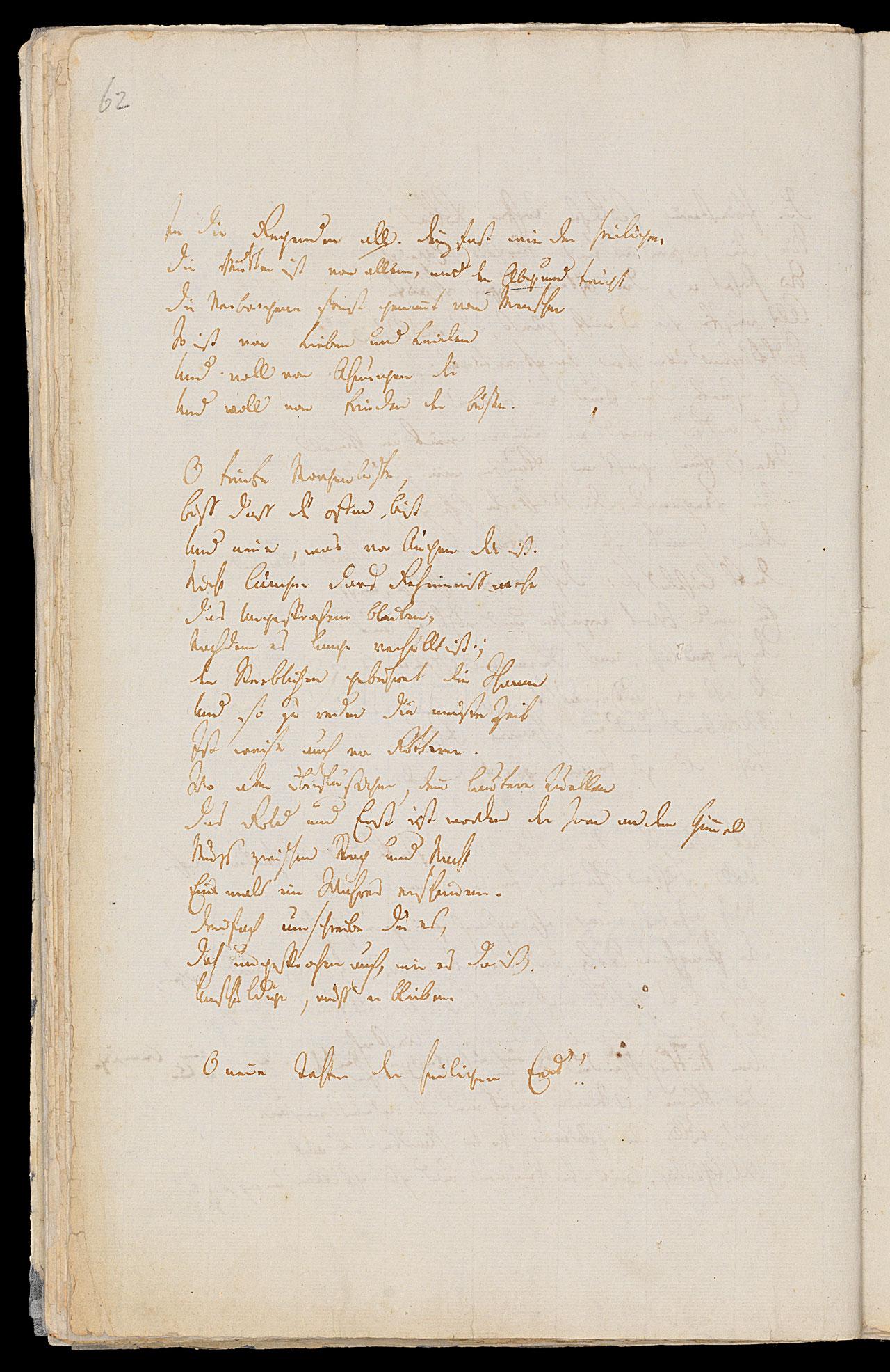 Friedrich Hölderlin, Homburger Folioheft, Seite 62, Germanien, Handschrift