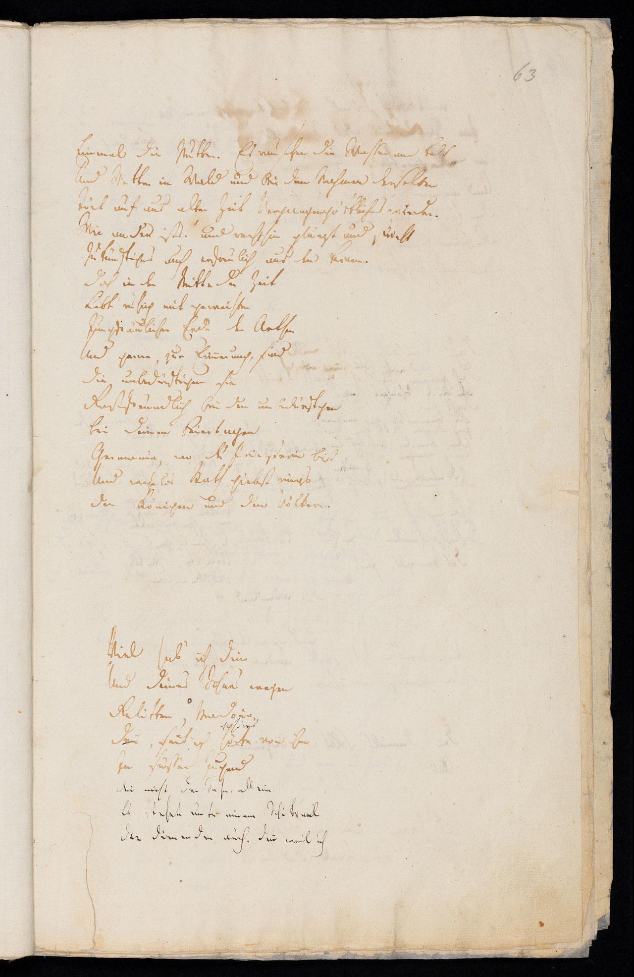 Friedrich Hölderlin, Homburger Folioheft, Seite 63, Germanien, Handschrift
