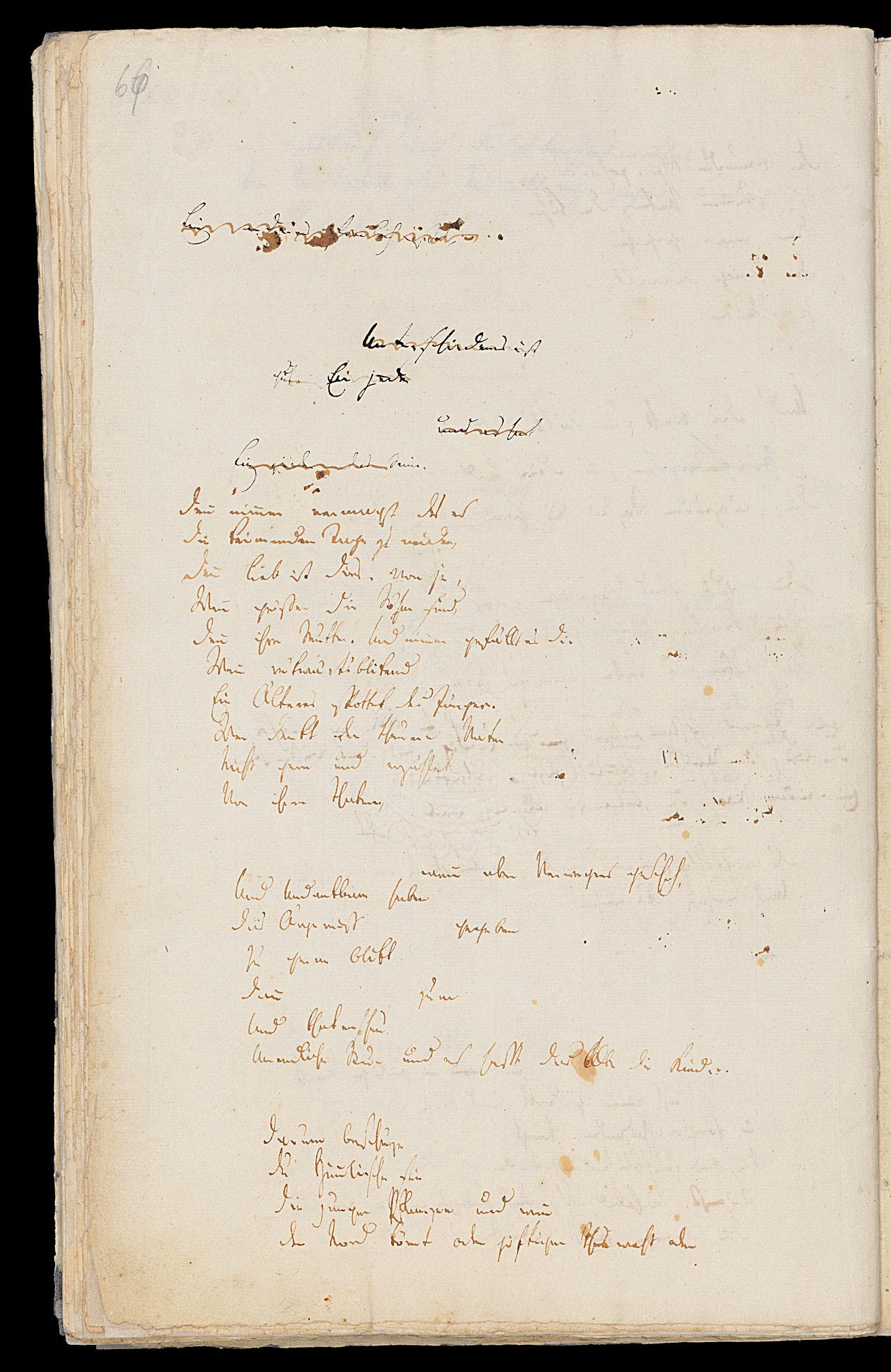 Friedrich Hölderlin, Homburger Folioheft, Seite 66, Viel hab' ich dein…, Handschrift