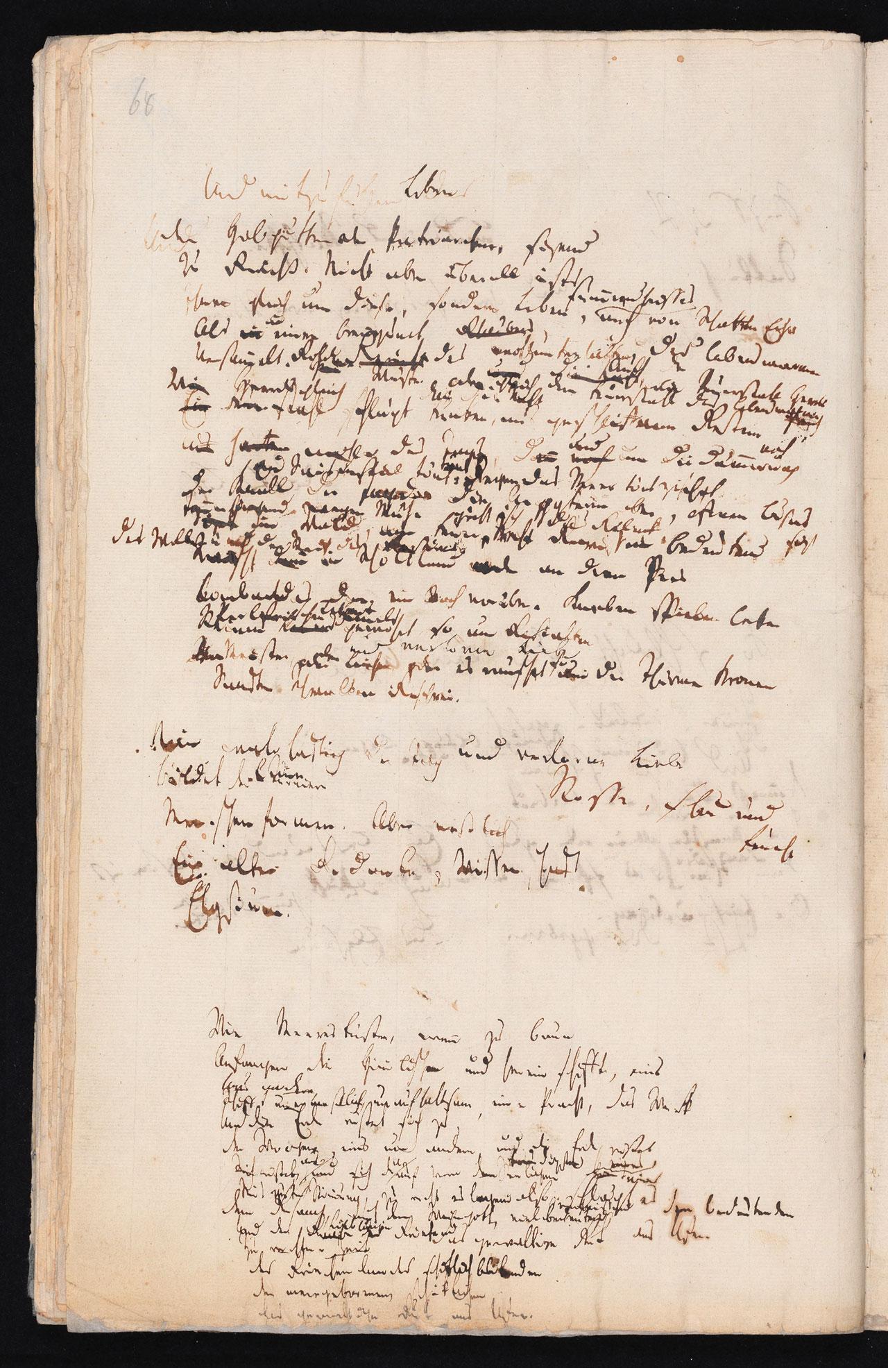 Friedrich Hölderlin, Homburger Folioheft, Seite 68, Und mitzufühlen…, Handschrift