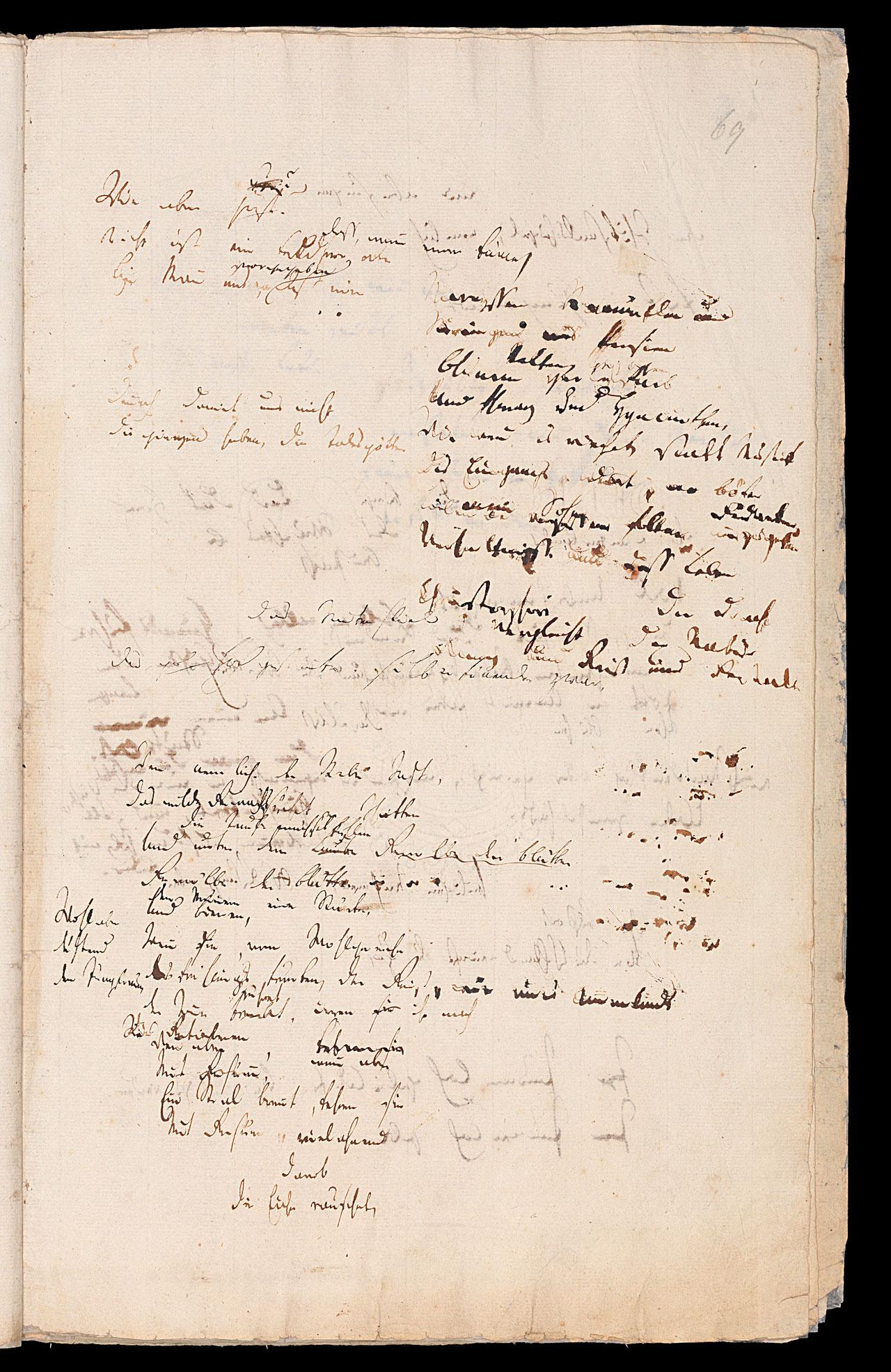 Friedrich Hölderlin, Homburger Folioheft, Seite 69, Wie aber jezt…, Handschrift