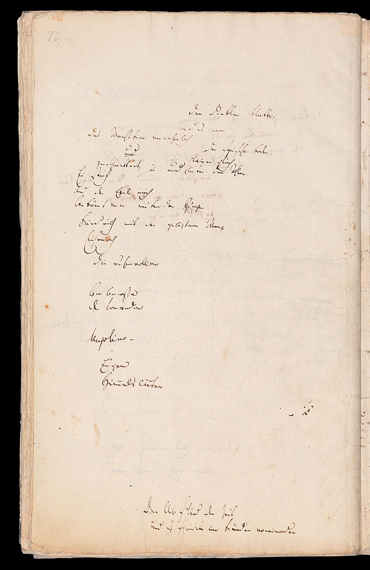 Friedrich Hölderlin, Homburger Folioheft, Seite 72, dem dunklen Blatte…, Handschrift