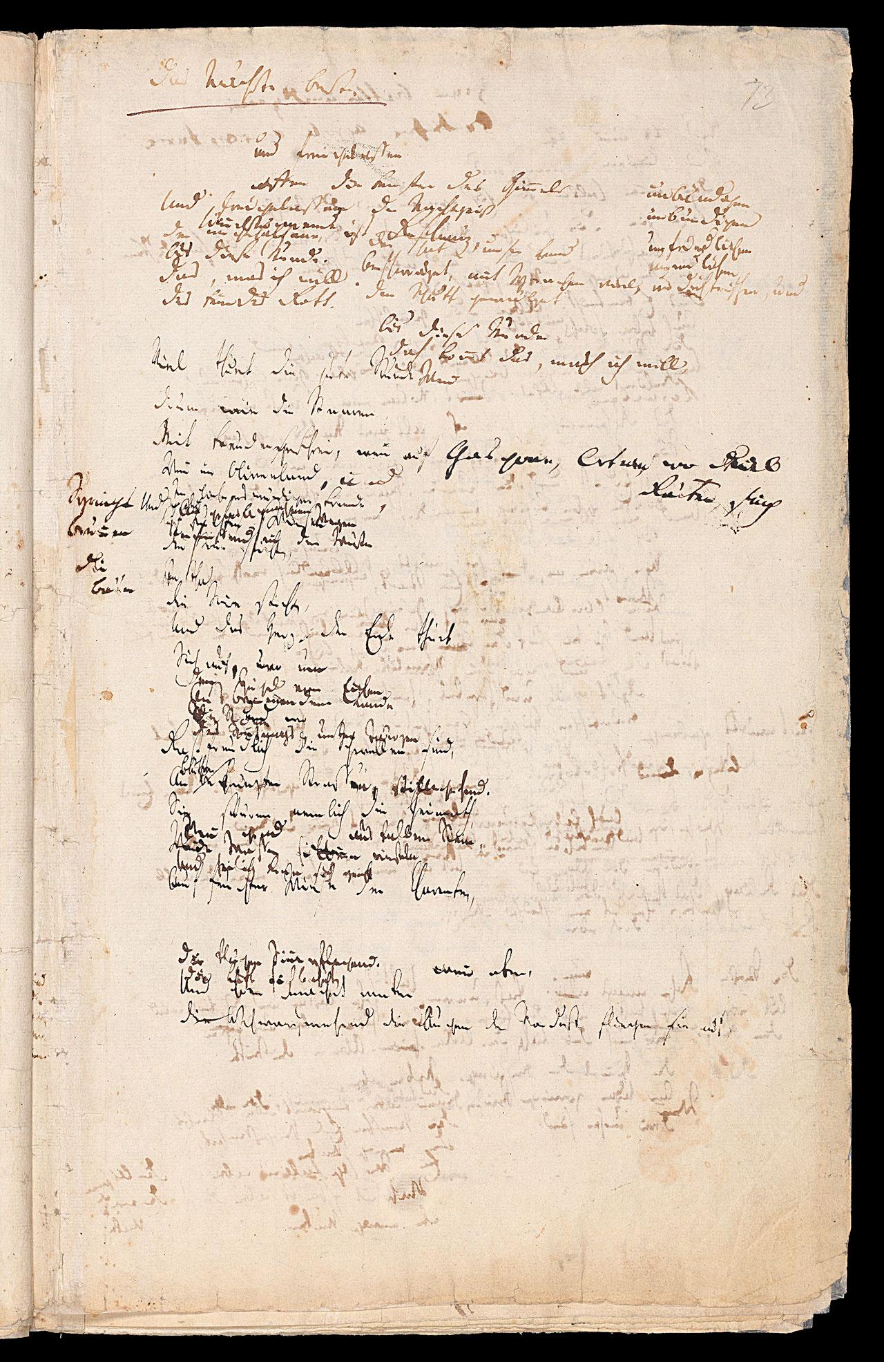 Friedrich Hölderlin, Homburger Folioheft, Seite 73, Das Nächste Beste, Handschrift