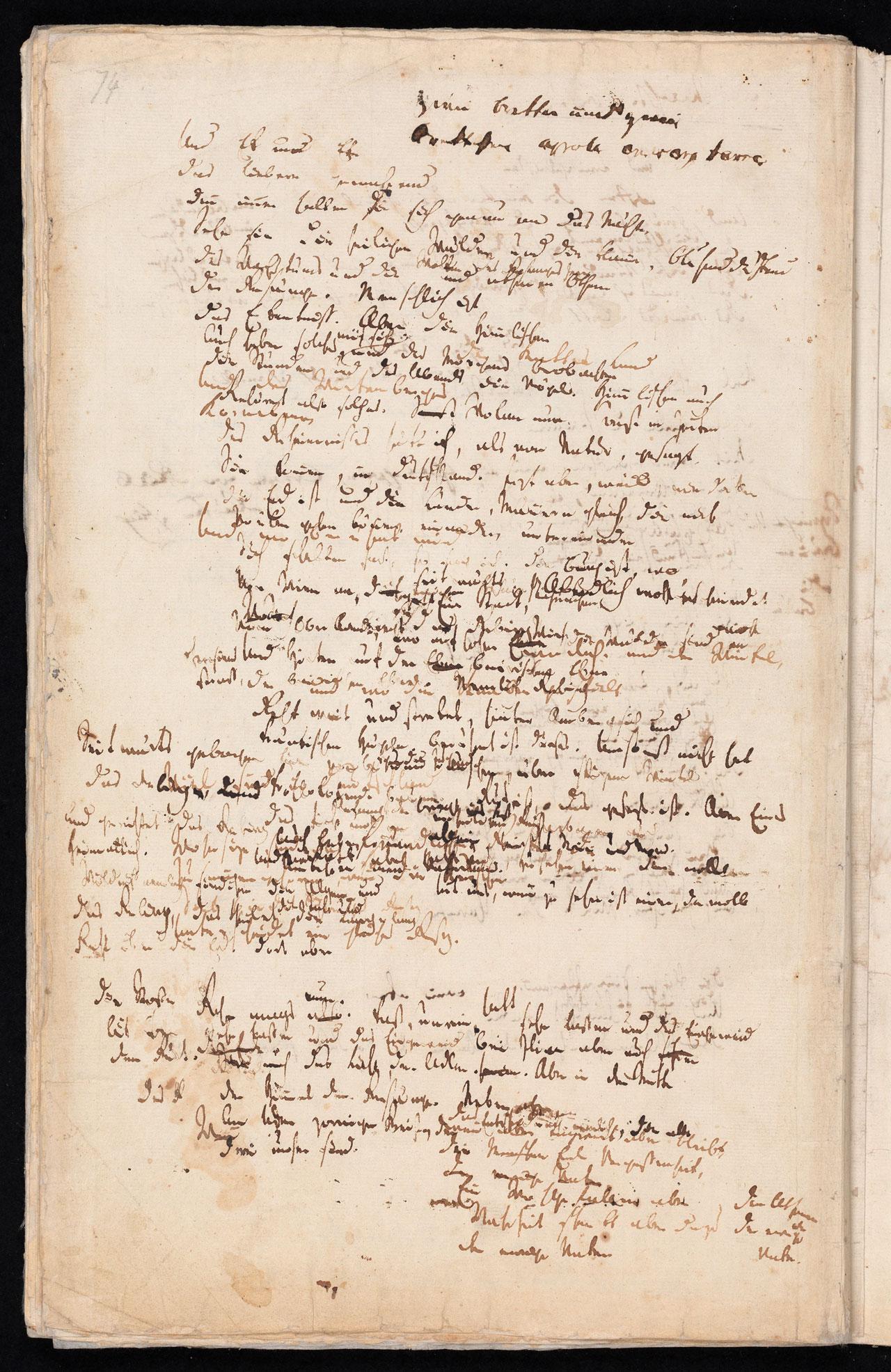 Friedrich Hölderlin, Homburger Folioheft, Seite 74, Und Ek um Eke…, Handschrift