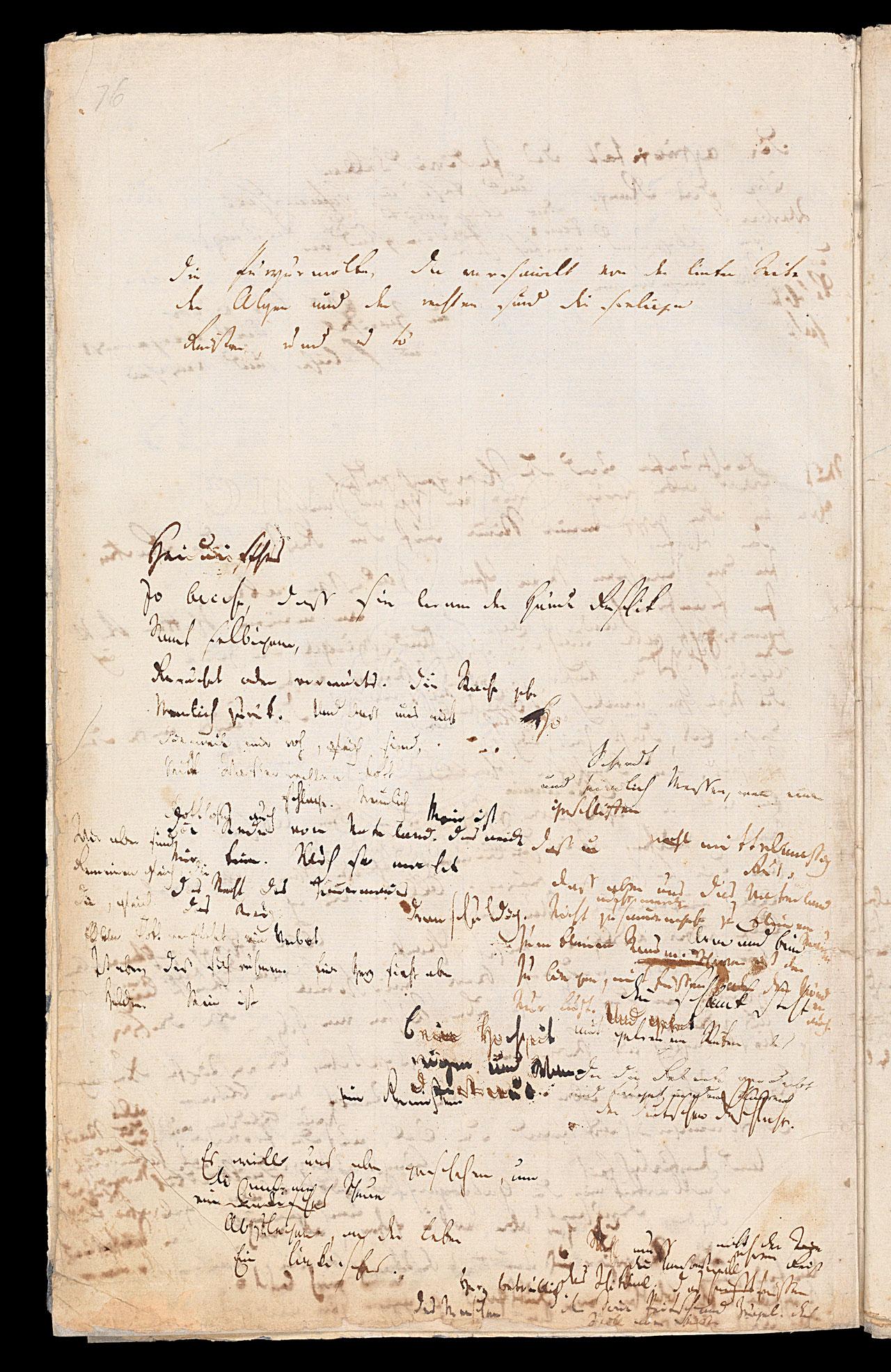 Friedrich Hölderlin, Homburger Folioheft, Seite 76, Die Purpurwolke…, Handschrift