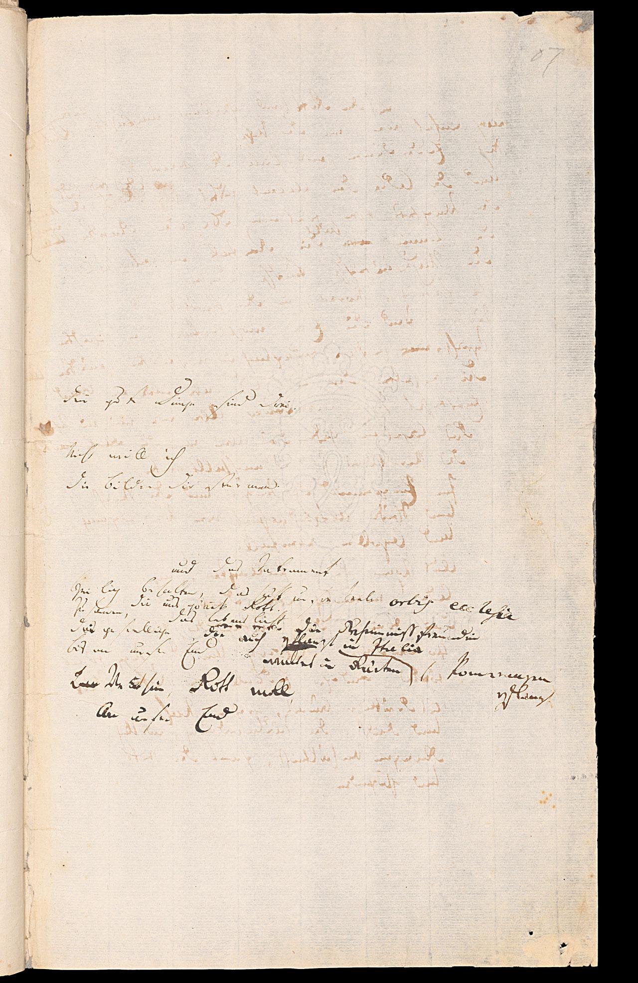 Friedrich Hölderlin, Homburger Folioheft, Seite 87, Denn gute Dinge sind drei…, Handschrift