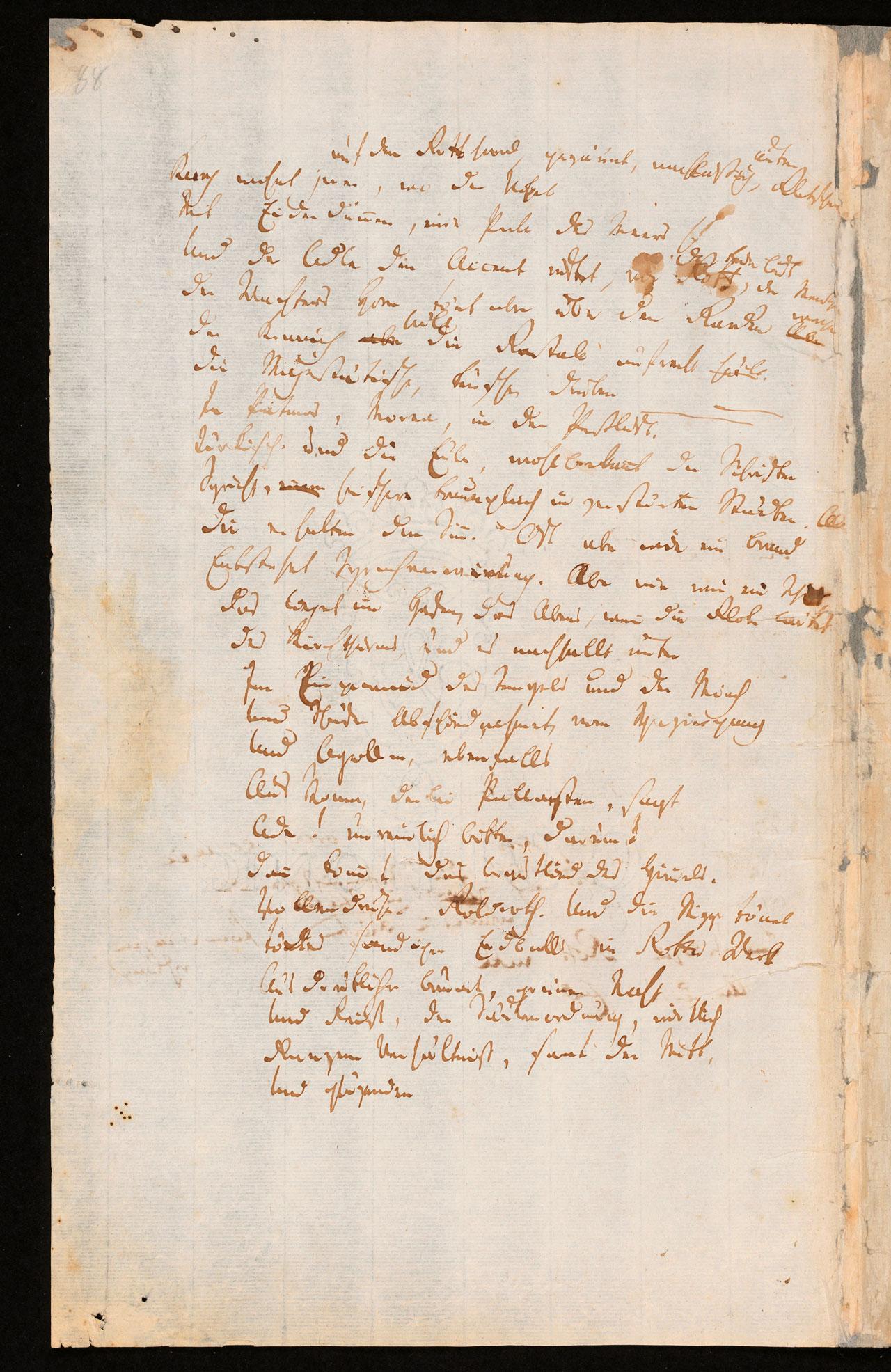 Friedrich Hölderlin, Homburger Folioheft, Seite 88, auf dem Gotthard…, Handschrift