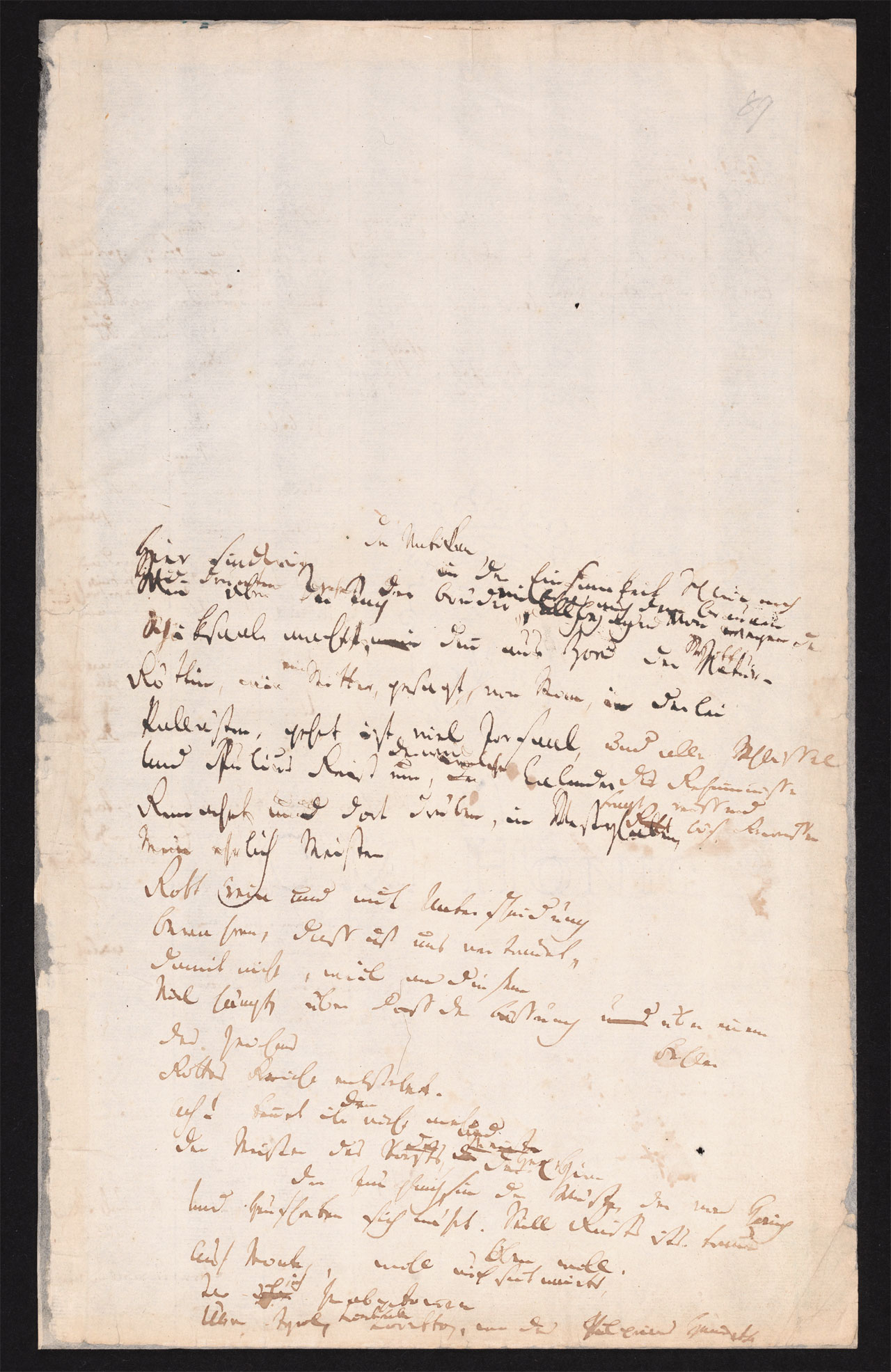 Friedrich Hölderlin, Homburger Folioheft, Seite 89, der Vatikan…, Handschrift