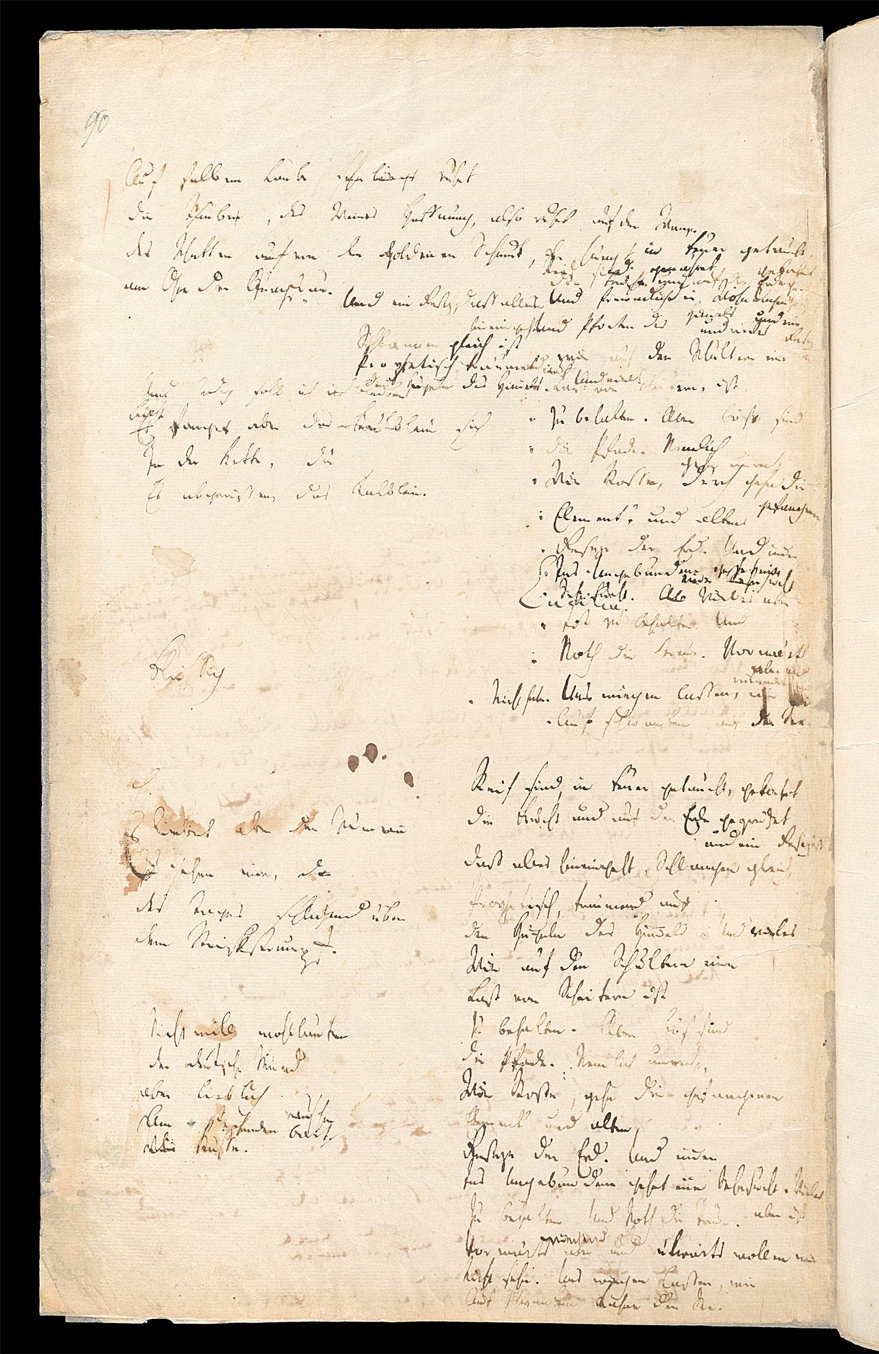 Friedrich Hölderlin, Homburger Folioheft, Seite 90, Auf falbem Laube…, Handschrift