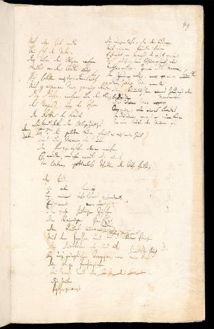 Friedrich Hölderlin, Homburger Folioheft, Seite 49, Noch aber hat andre…, Handschrift